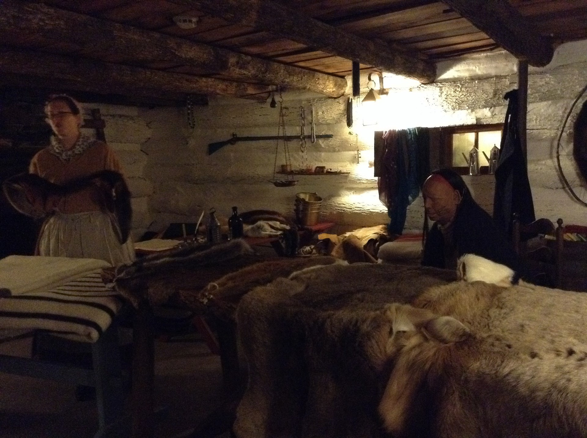 Inside a typical colonial cabin.