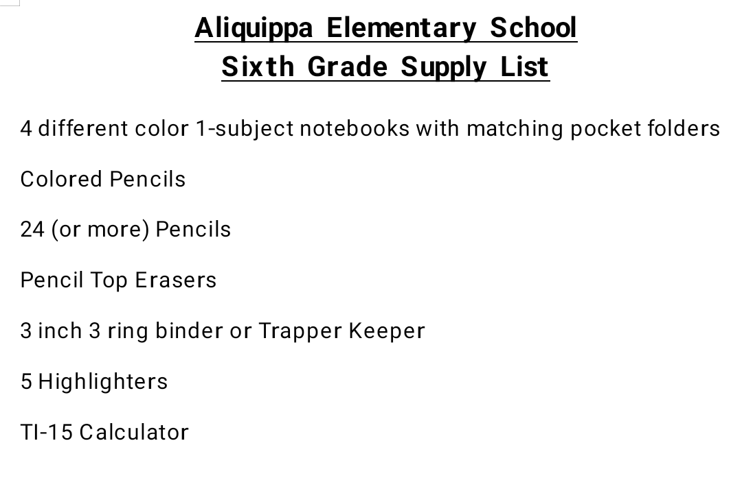 AES 6th Grade Supply List