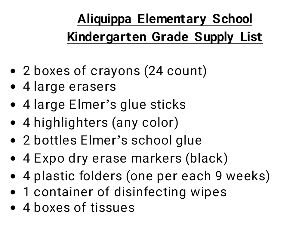 AES Kindergarten Supply List
