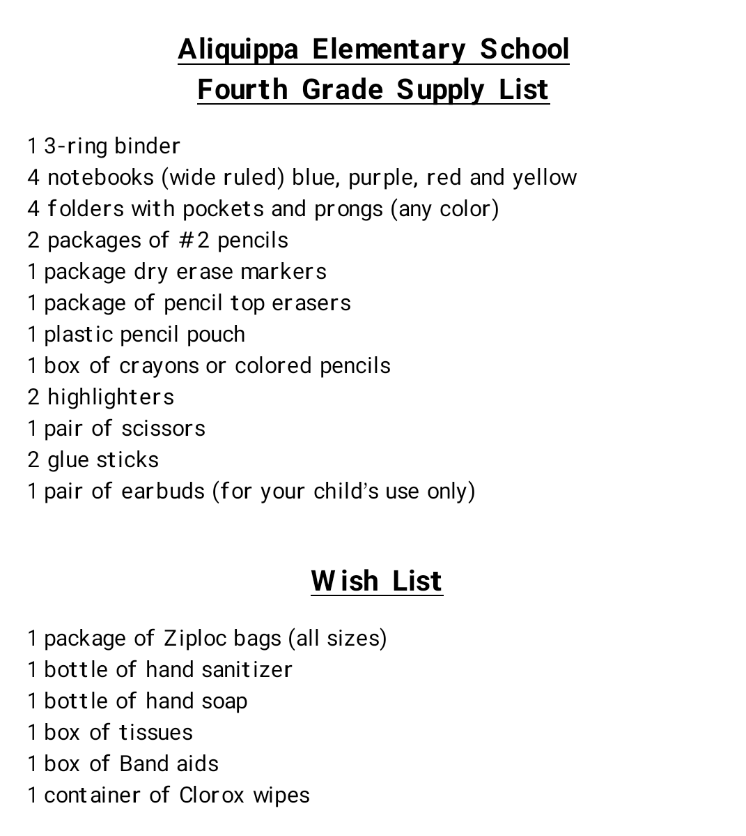 AES 4th Grade Supply List