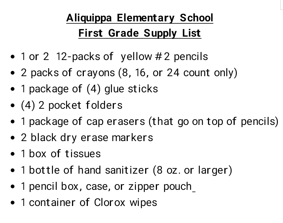AES 1st Grade Supply List