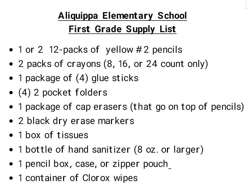 AES 1st Grade Supply List