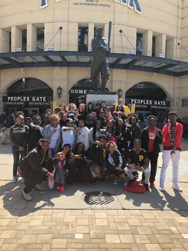 8th Grade students in front of Pirates stadium
